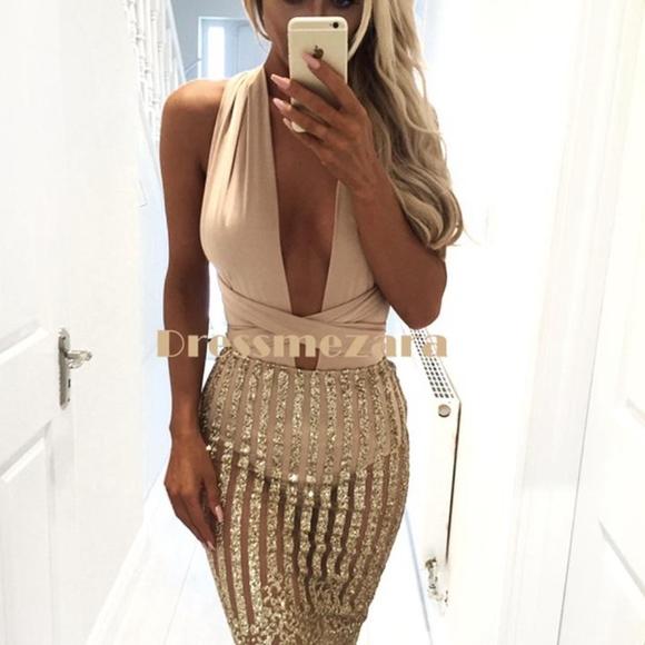 8126cffc1384 Dress Me Zee Dresses | Multiway Glitter Mesh Dress Nude Size Xs ...